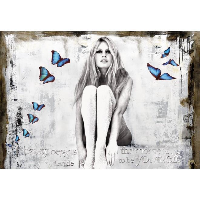 Butterflies - Bild von Brigitte Bardot mit Schmetterlingen, Handarbeit/Original Kunstwerk