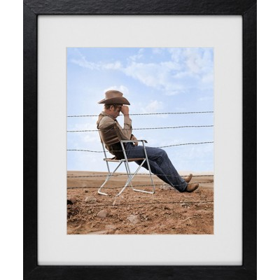 Frank Worth: James Dean Seated behind fence Set of Giant 1955 / color