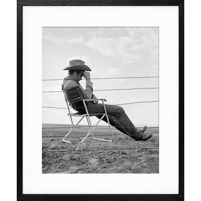 Frank Worth: James Dean Seated Behind Fence Set of Giant 1955