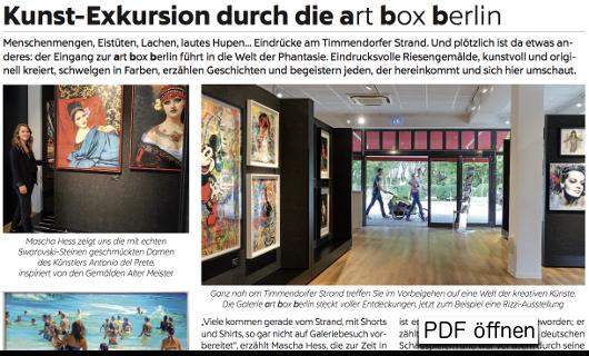 Artikel über die art box berlin / Timmendorf
